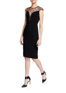 Jenny Packham Iva V-Neck Illusion Cocktail Dress