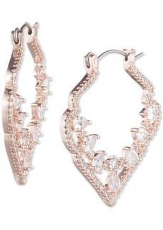 "Jenny Packham Crystal Decorative Medium 1-2/5"" Medium Hoop Earrings"
