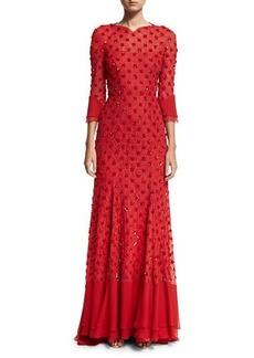 Jenny Packham 3/4-Sleeve Beaded Open-Back Gown