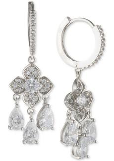 "Jenny Packham 4/5"" Crystal Hoop & Flower Drop Earrings"
