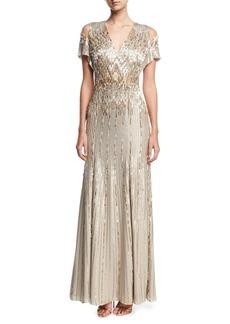 Jenny Packham Beaded Chiffon Cold-Shoulder V-Neck Gown