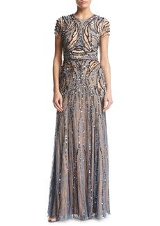 Jenny Packham Beaded Tulle Short-Sleeve Illusion Gown