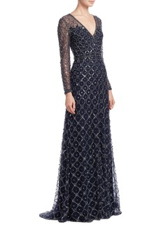 Jenny Packham Beaded V-Neck Gown
