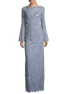 Jenny Packham Bell-Sleeve Beaded Lace Column Evening Gown