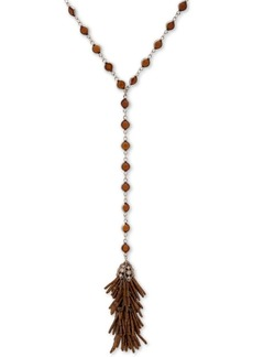 "Jenny Packham Crystal & Beaded Tassel Lariat Necklace, 28"" + 3"" extender"