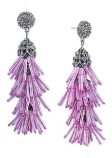 Jenny Packham Crystal & Beaded Tassel Linear Drop Earrings