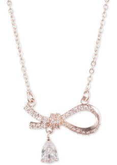 "Jenny Packham Crystal & Stone Side Bow Pendant Necklace, 16"" + 2"" extender"