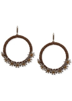 Jenny Packham Crystal Flower Beaded Drop Hoop Earrings
