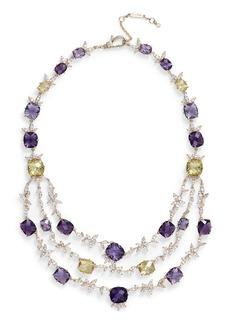 Jenny Packham Crystal Layered Bib Necklace