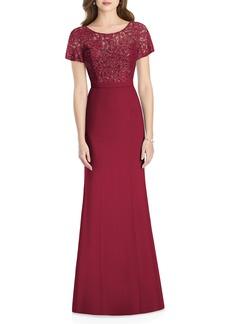Jenny Packham Embellished Lace Trumpet Gown