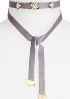 Jenny Packham Embellished Velvet Wrap Choker Necklace