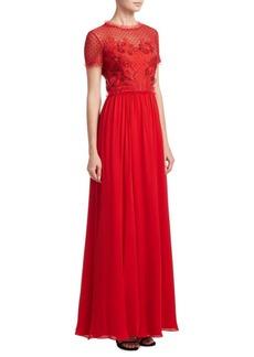 Jenny Packham Embroidered Chiffon Gown