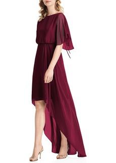 Jenny Packham Flutter Sleeve High/Low Chiffon Gown