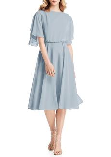 Jenny Packham Flutter Sleeve Open Back Chiffon Cocktail Dress