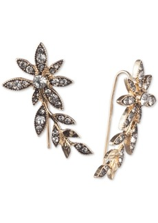 Jenny Packham Gold-Tone Crystal Flower Ear Climber Earrings