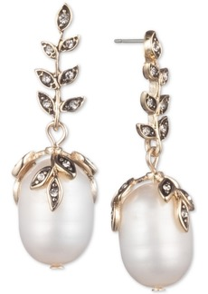 Jenny Packham Gold-Tone Pave & Genuine Pearl (9-13mm) Drop Earrings