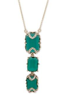 "Jenny Packham Gold-Tone Pave & Stone Lariat Necklace, 16"" + 2"" extender"