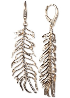 Jenny Packham Gold-Tone Pave Leaf Linear Drop Earrings