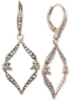 Jenny Packham Gold-Tone Pave Open Drop Earrings