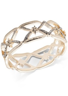Jenny Packham Gold-Tone Pave Openwork Bangle Bracelet