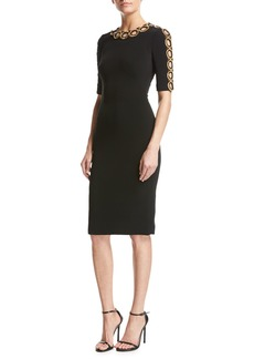 Jenny Packham Half-Sleeve Beaded Cutout Dress