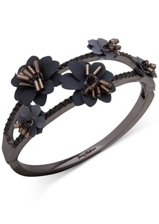 Jenny Packham Hematite-Tone Crystal & Imitation Pearl Flower Bangle Bracelet