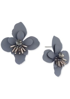 Jenny Packham Hematite-Tone Crystal & Imitation Pearl Flower Button Earrings