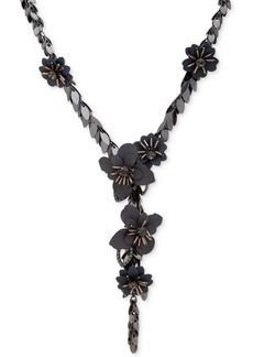 "Jenny Packham Hematite-Tone Crystal & Imitation Pearl Flower Lariat Necklace, 22"" + 3"" extender"