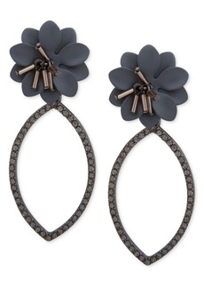 Jenny Packham Hematite-Tone Crystal & Imitation Pearl Flower Open Drop Earrings