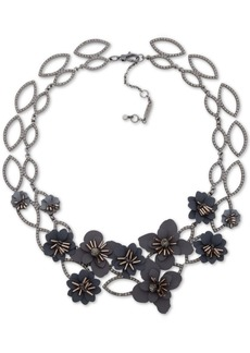 "Jenny Packham Hematite-Tone Crystal & Imitation Pearl Flower Statement Necklace, 16"" + 4"" extender"