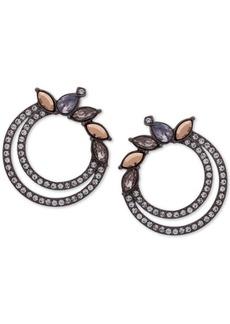 "Jenny Packham Hematite-Tone Crystal 1"" Double Hoop Earrings"