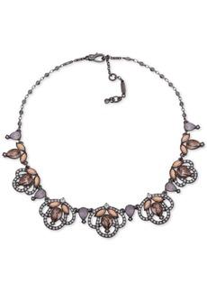 "Jenny Packham Hematite-Tone Crystal Openwork Collar Necklace, 16"" + 2"" extender"