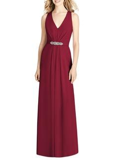Jenny Packham Jewel Belt Chiffon A-Line Gown