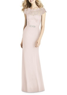 Jenny Packham Lace & Crepe Sheath Gown
