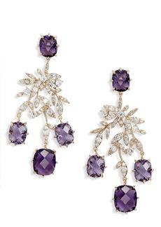 Jenny Packham Leaf Stone Chandelier Earrings