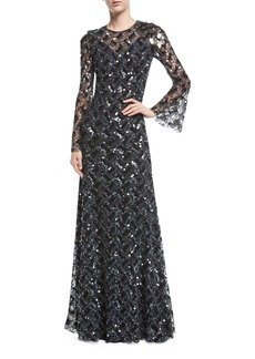 Jenny Packham Long-Sleeve Paillette-Embellished Gown