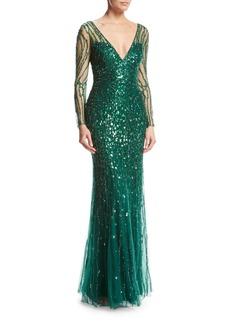 Jenny Packham Long-Sleeve V-Neck Beaded Tulle Gown