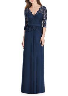 Jenny Packham Lux Lace & Chiffon Column Gown