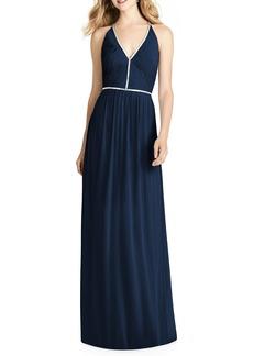 Jenny Packham Pleated Bodice Chiffon Gown