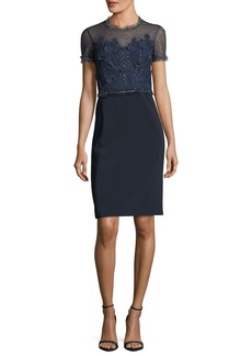 Jenny Packham Round-Neck Short-Sleeve Lace Cocktail Dress