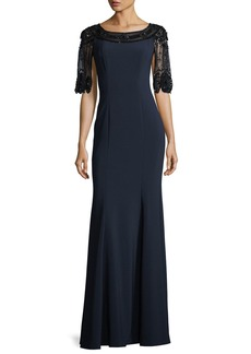 Jenny Packham Scallop Beaded Stretch-Crepe Evening Gown