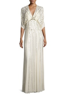 Jenny Packham Sequin-Embroidered Batwing Gown