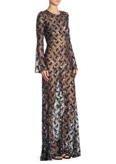 Jenny Packham Sheer Beaded Bell-Sleeve Gown