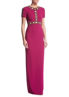 Jenny Packham Short-Sleeve Beaded Cutout Gown