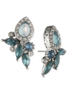 Jenny Packham Silver-Tone Crystal Cluster Stud Earrings