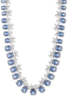 "Jenny Packham Silver-Tone Crystal Flower & Stone Collar Necklace, 16"" + 3"" extender"