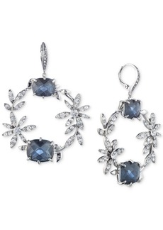 Jenny Packham Silver-Tone Crystal Flower & Stone Drop Hoop Earrings