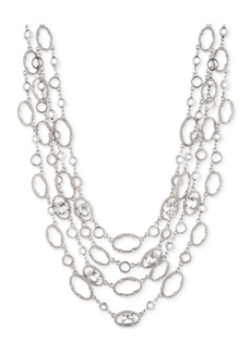 """Jenny Packham Silver-Tone Crystal Four-Row Collar Necklace, 16"""" + 2.75"""" extender"""