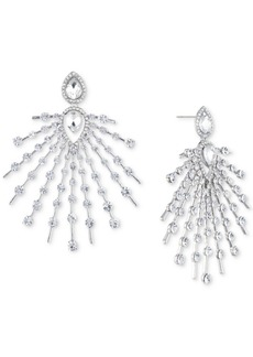 Jenny Packham Silver-Tone Crystal Starburst Drop Earrings