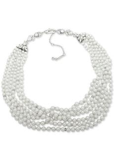 "Jenny Packham Silver-Tone Imitation Pearl & Crystal Multi-Strand Collar Necklace, 16"" + 2"" extender"